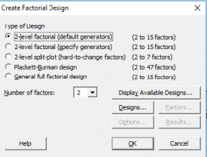 DOE Factorial Design using Minitab